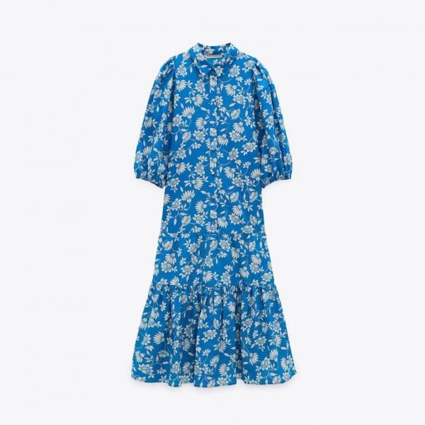 Coral White Floral Blue Summer Dress