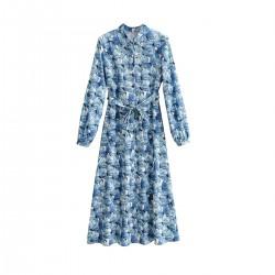 Lisa Midnight Blue Floral Dress WIth Hip Belt