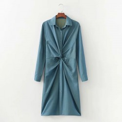 Fatema Knotted Dress - Sea Blue