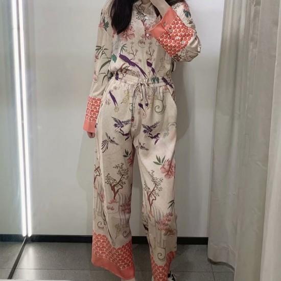 Dayra Chinese Printed Pyjama Set Blouse and Pants