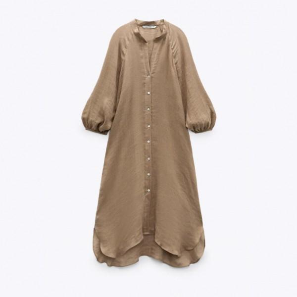 Widad Bell Sleeve Brown Casual Dress