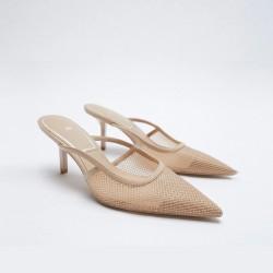 Amber Cream Meshed Stilettos