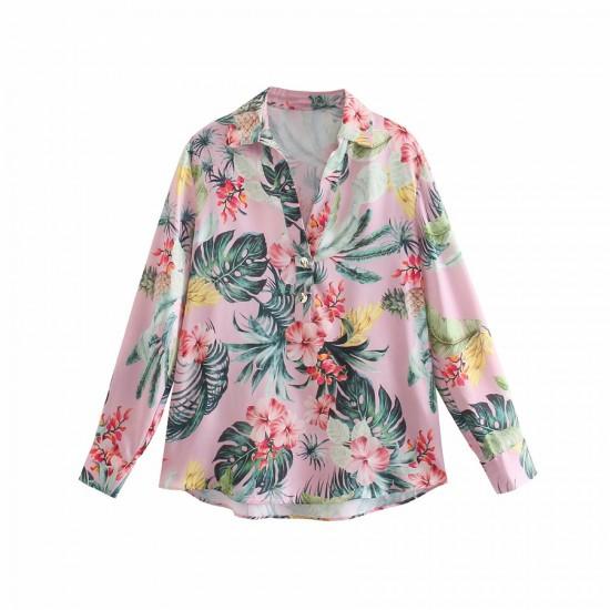Chinta Pink Floral Tropical Printed Blouse