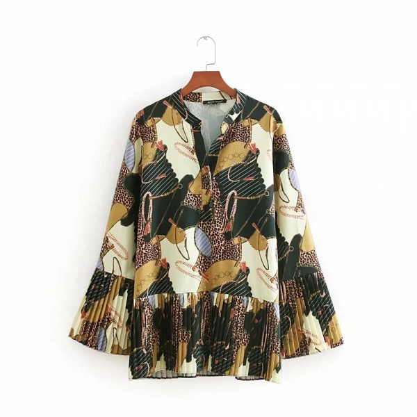 Jaded Chain Printed Pleated Blouse