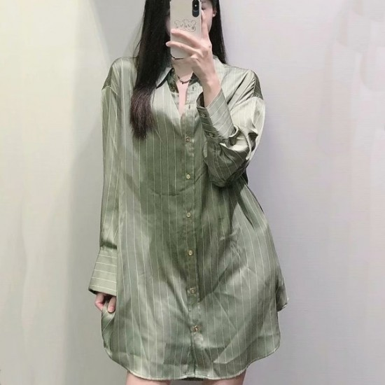 Jazmin Loose Long Sleeve Stripe Blouse Soft Green Satin