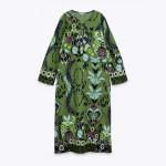 Cassia Floral Design Green Silk Summer Dress
