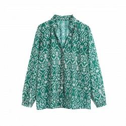 Asami Green Geometric Design Long Sleeve Blouse