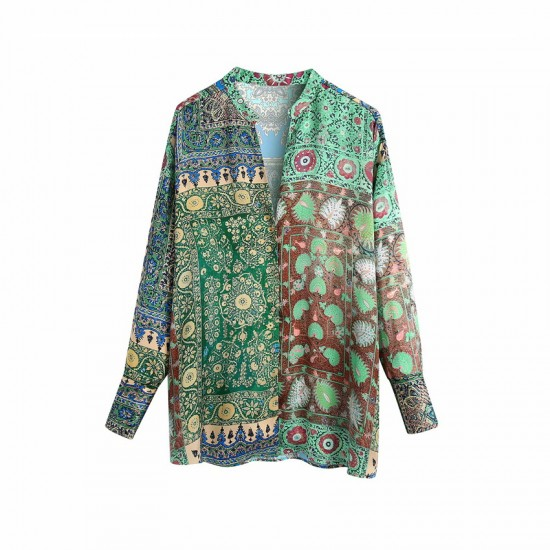 Korie Emerald Green Satin Patchwork Blouse