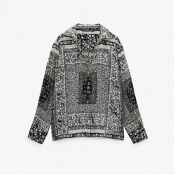 Hamiza Geometric Printed Grey Blouse With Pants