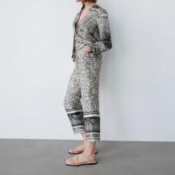 Hamiza Geometric Printed Grey Blouse Only