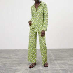 Veara Geometric Printed Top and Pants set Bright Green
