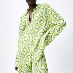 Veara Geometric Printed Top Bright Green