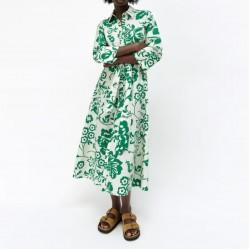 Tasmin Green Floral Printed Dress