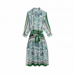Fitri Floral Printed Emerald Green Midi Dress