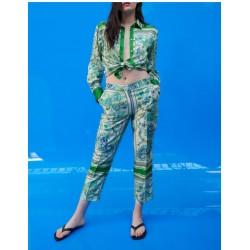 Haifa Floral Printed Emerald Green Set Blouse and Pants