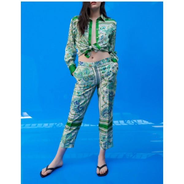 Haifa Floral Printed Emerald Green Set Blouse and Pants