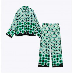Marina Set Green Geometric Blouse and Pants
