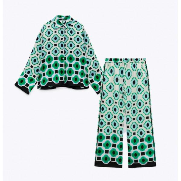 Marina Set Green Geometric Blouse and Pants
