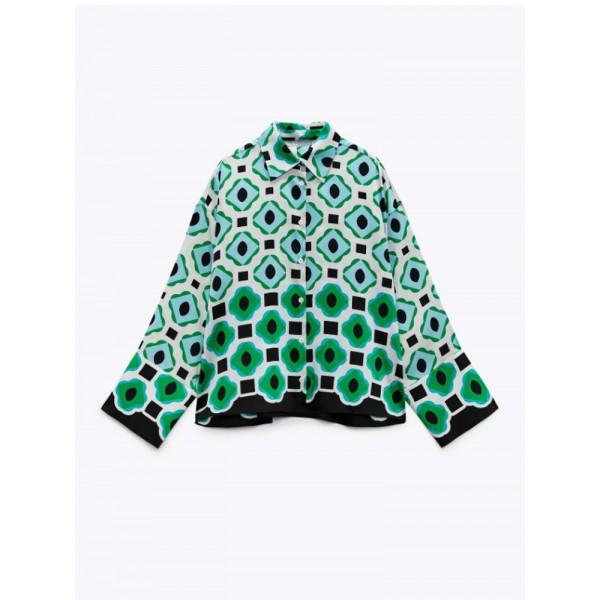 Marina Green Geometric Blouse