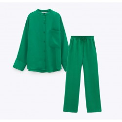 Janice Set Green Plain Blouse and Pants