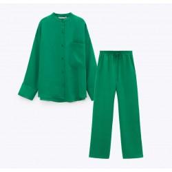 Janice Set Green Plain Blouse and Pants