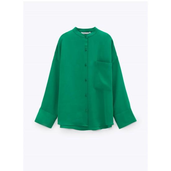 Janice Green Plain Pocket Blouse