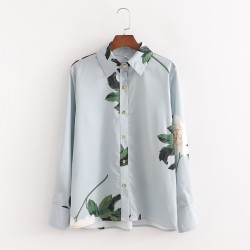 Dahlia Summer Floral Blouse Grey Satin