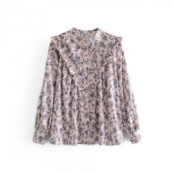 Salma French Floral Blouse- Grey
