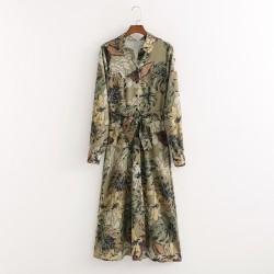 Najma Olive Floral Long Blouse