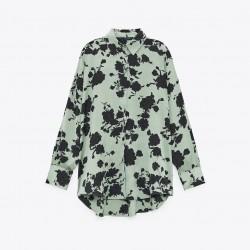 Rachel Black Floral Satin Mint Green Blouse