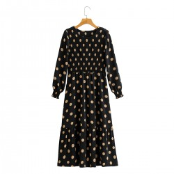 Aileen Polka Dot Long Sleeve Black Dress