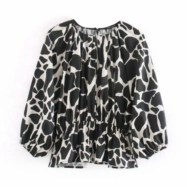 Carmel Animal Print Black Blouse