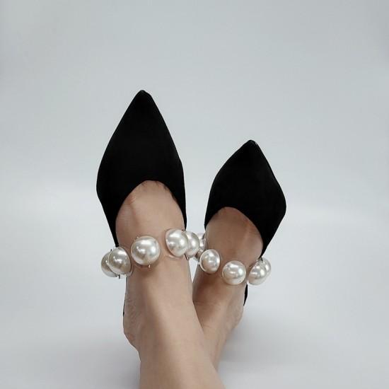 Zendaya Pearl Black Half Slippers
