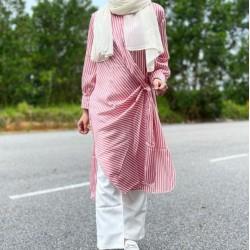 Shania Striped Pink Long Sleeve Dress
