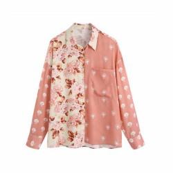Gypsy Pink Floral Geometric Design Split Blouse