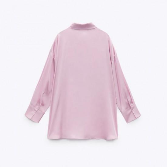 Casey Flowy Satin Soft Pink Long Sleeve Blouse