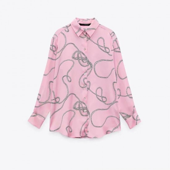 Irene Rope Printed Long Sleeve Blouse - Soft Pink