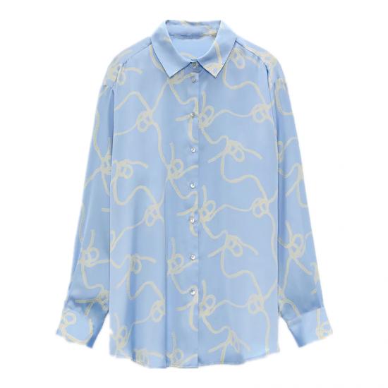 Irene Rope Printed Long Sleeve Blouse - Soft Blue