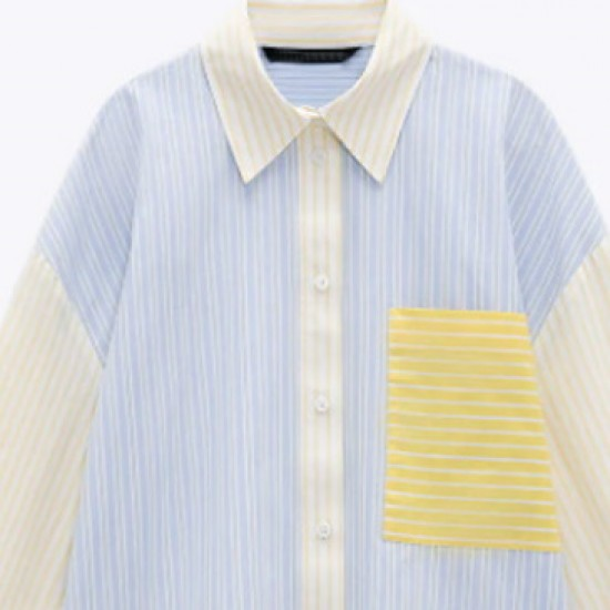 Mariana Striped Long Sleeve Loose Oversize Blouse - Soft Yellow
