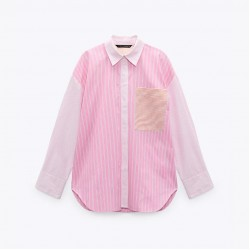 Mariana Striped Long Sleeve Loose Oversize Blouse - Lovely Pink
