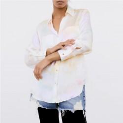 Faye Soft Tie-Dye Rainbow Long Sleeve Blouse