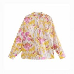 Nawal Pink Floral Printed Long Sleeve Blouse