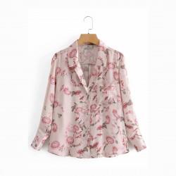 Bridget Pink Floral Printed Long Sleeve Blouse