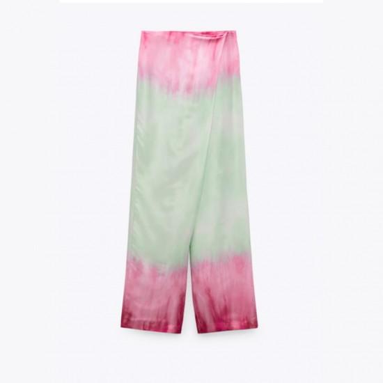 Rayya Pink and Blue Tie-Dye Shirt and Pant Set