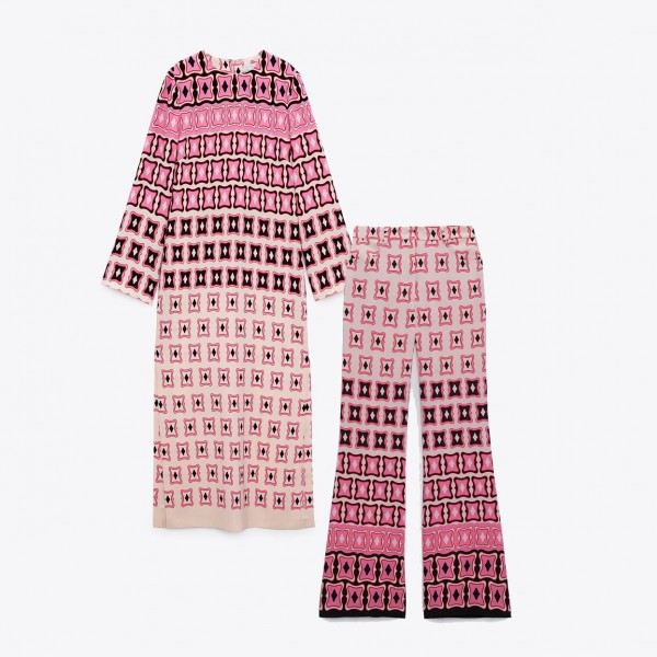 Faith Geometric Printed Dusty Pink Design Pair Top and Pants
