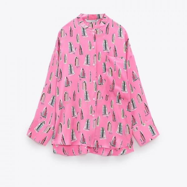 Brooke Striking Pink Building Design Blouse