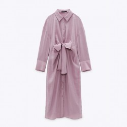Shayla Bow-Style Flowing Lilac Dress