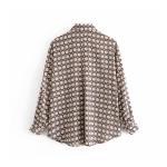 Azira Pink Chain Geometric Printed Long Sleeve Blouse