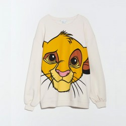 Carie Simba Cartoon Printed Sweatshirt - Beige