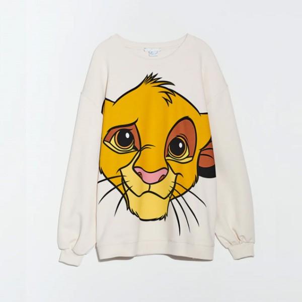 Carie Simba Cartoon Printed Sweatshirt - Beige